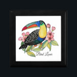 "Watercolor Toucan Bird With Flowers Gift Box<br><div class=""desc"">Watercolor gorgeous Toucan bird with cherry blossom. Beautiful and fun bird design created for bird lovers, nature lovers, animal lovers and also suitable for anyone who loves character designs. Can be a perfect gift. Easily customize it with different words (birthdays, anniversaries, occasions, parties etc), names, background color or just enjoy...</div>"