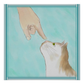 Watercolor Touching Kitty's Nose Poster Print