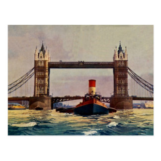Watercolor Tower Bridge, steamer London Postcard