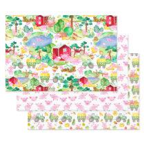 Watercolor Tractors Cute Pig Farm Wrapping Paper Sheets
