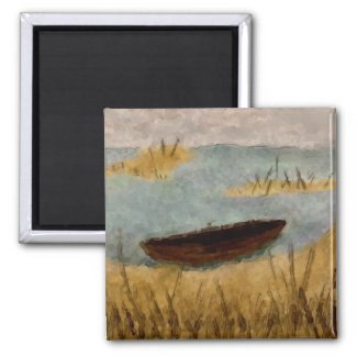 Watercolor Tranquil Boat Scene Magnet