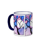 Watercolor Tree and Moon - Blue and Pink Ringer Coffee Mug