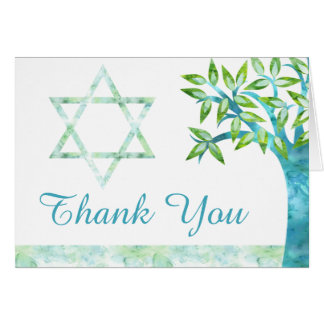 Watercolor Tree of Life Teal Green Thank You Card