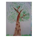 Watercolor tree painting postcard