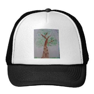 Watercolor tree painting trucker hat