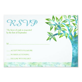 Watercolor Tree Teal Green Bat Mitzvah RSVP 3.5x5 Paper Invitation Card