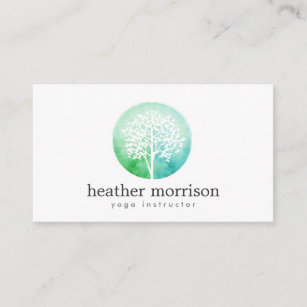 Yoga business cards templates zazzle watercolor tree yoga and wellness business card colourmoves