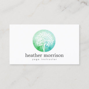 Yoga business cards zazzle watercolor tree yoga and wellness business card reheart Image collections