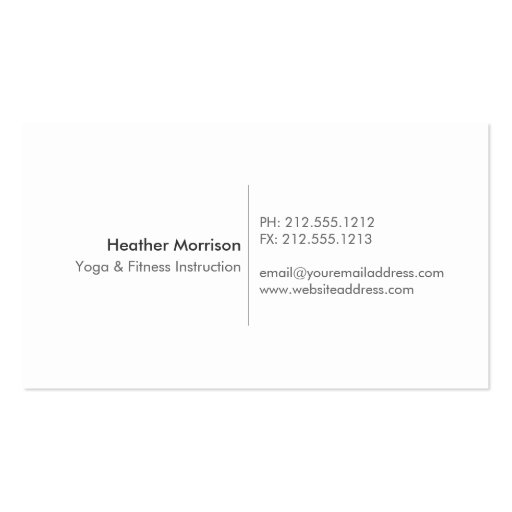 Watercolor Tree Yoga and Wellness Business Card (back side)