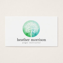 Yoga business cards templates zazzle watercolor tree yoga and wellness business card reheart Choice Image