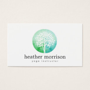 Tree business cards templates zazzle watercolor tree yoga and wellness business card colourmoves