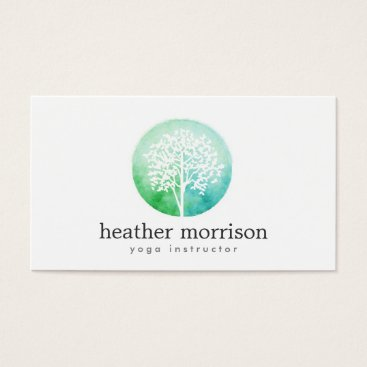 1201am Watercolor Tree Yoga and Wellness Business Card