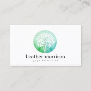 Yoga business cards zazzle watercolor tree yoga and wellness business card colourmoves