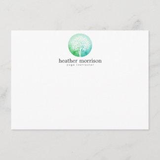 Watercolor Tree Yoga and Wellness Flat Notecard