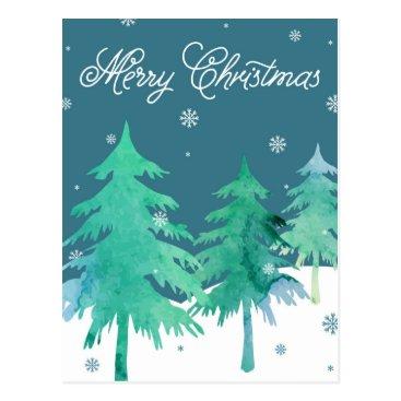 Christmas Themed Watercolor Trees Christmas Postcard