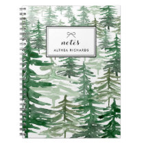 Watercolor Trees Pattern Personalized Notebook I
