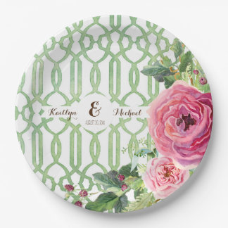 Watercolor Trellis Floral Rose Peony Bridal Shower Paper Plate