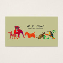 Watercolor Trendy Cute Animals Dogs Cats Business Card