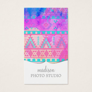 Watercolor Tribal Aztec Pink and Aqua Pattern Business Card