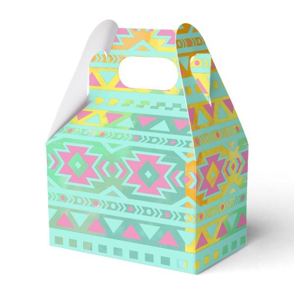 Watercolor Tribal Chic Aztec Geometric Favor Box