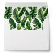 Watercolor Tropical Banana Leaves Pattern Envelope