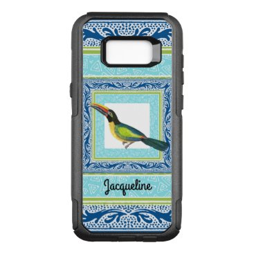 font themed Watercolor Tropical Beach Toucan Bird Pattern OtterBox Commuter Samsung Galaxy S8  Case