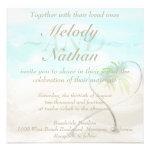 Watercolor Tropical Beach Wedding Invitation