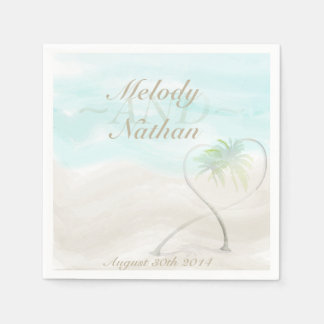 Watercolor Tropical Beach Wedding Paper Napkins Standard Cocktail Napkin