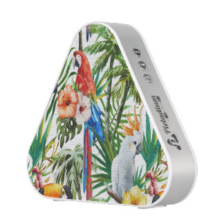 Watercolor tropical birds and foliage pattern bluetooth speaker