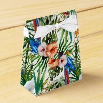 Watercolor tropical birds and foliage pattern favor box