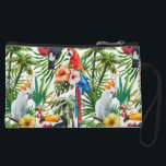 "Watercolor tropical birds and foliage pattern wristlet wallet<br><div class=""desc"">Gorgeous fun and festive watercolor tropical birds and foliage pattern,  featuring the most colorful vibrant rainforest birds like parrots,  toucan. Great for your vacation and coastal getaway. Aloha Hawaii!</div>"