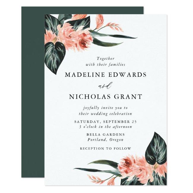 Watercolor Tropical Coral Floral Bouquet Wedding Invitation