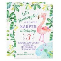 Watercolor Tropical Flamingo Birthday Invitation