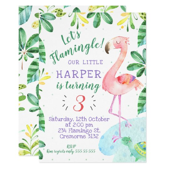 Watercolor Tropical Flamingo Birthday Invitation