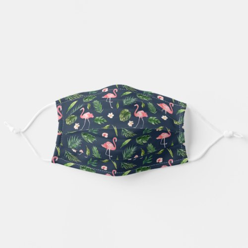 Watercolor Tropical Flamingo Palm Leaves Navy Blue Cloth Face Mask