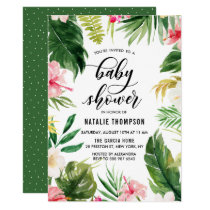 Watercolor Tropical Floral Frame Baby Shower Card