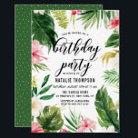 "Watercolor Tropical Floral Frame Birthday Party Invitation<br><div class=""desc"">A fun and whimsical Birthday Party invitation featuring watercolor hibiscus,  palm leaves,  banana leaves and other tropical accents. This customizable invitation is perfect for summer birthday parties.</div>"