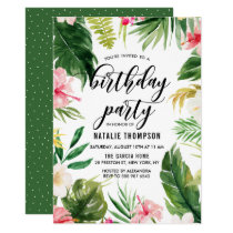 Watercolor Tropical Floral Frame Birthday Party Invitation
