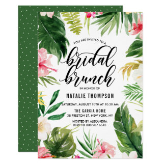 Watercolor Tropical Floral Frame Bridal Brunch Card