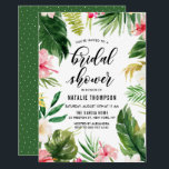 """Watercolor Tropical Floral Frame Bridal Shower Card<br><div class=""""desc"""">A fun and whimsical bridal shower invitation featuring watercolor hibiscus,  palm leaves,  banana leaves and other tropical accents. This customizable invitation is perfect for summer bridal showers.</div>"""