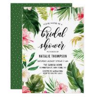 Watercolor Tropical Floral Frame Bridal Shower Invitation