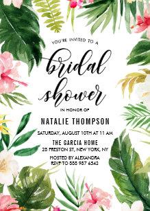 38e804c196d84 Watercolor Tropical Floral Frame Bridal Shower Invitation