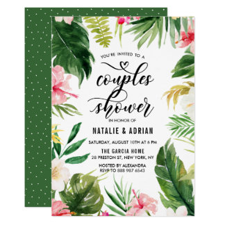 Watercolor Tropical Floral Frame Couples Shower Card