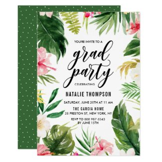 Watercolor Tropical Floral Frame Graduation Party Invitation