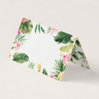 Watercolor Tropical Floral Frame Summer Place Card