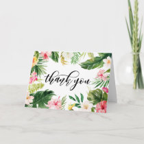 Watercolor Tropical Floral Frame Thank You Card