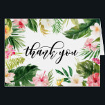"""Watercolor Tropical Floral Frame Thank You Card<br><div class=""""desc"""">Customizable thank you card featuring watercolor palm leaves,  banana leaves,  hibiscus,  orchids and other tropical accents. This thank you card is perfect for summer and tropical weddings,  luaus,  graduations,  birthdays,  bridal showers,  baby showers and similar events.</div>"""