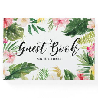 Watercolor Tropical Floral Frame Wedding Guest Book