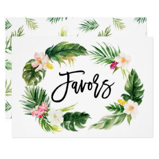 Watercolor Tropical Floral Wreath Favors Sign Card