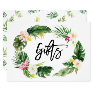 Watercolor Tropical Floral Wreath Gifts Sign Card